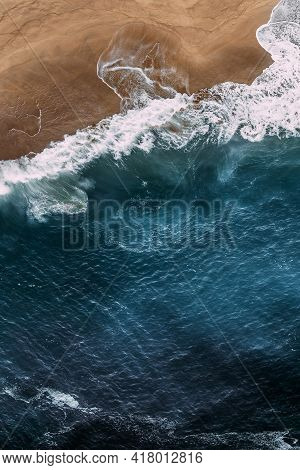 Beautiful Sea Background For Your Smartphone. Beautiful Sandy Beach With Blue Ocean, Vertical View.
