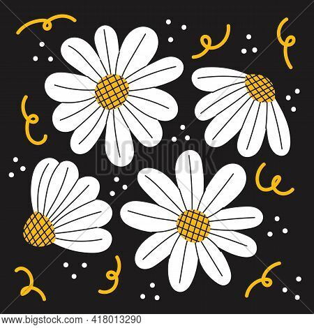 Set Of Hand Drawn Doodle Cute Little Chamomiles. Flowers On Black Background. Abstract Colorful Vect