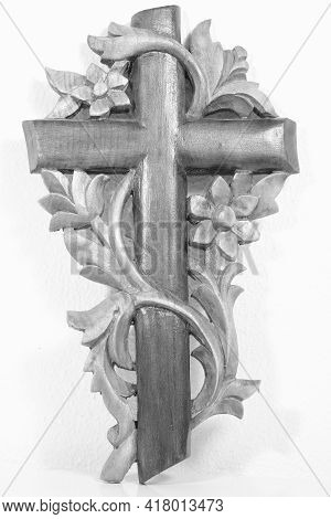 A Beautiful Handmade Wooden Cross In Black And White