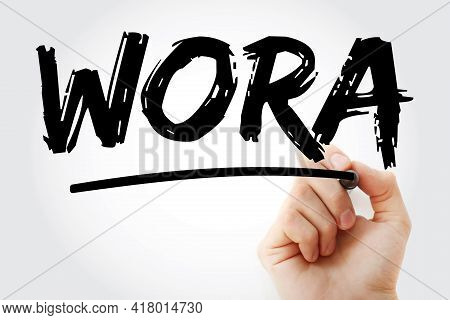 Wora - Write Once Run Anywhere Acronym With Marker, Technology Concept Background