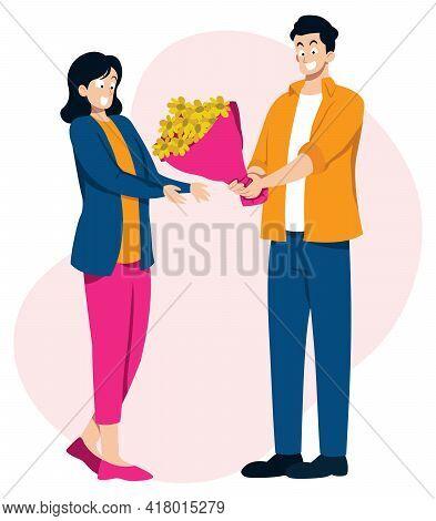 Flat Design Illustration With Man Bringing Flowers To His Beloved.