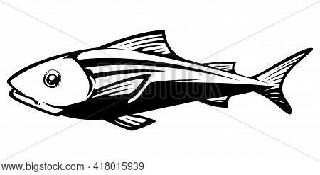 Black And White Illustration Of A Fish.