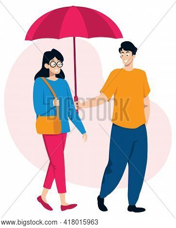 Flat Design Illustration With Gentleman Holding Umbrella For His Lady.