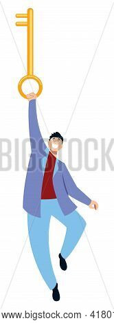 Concept Flat Design Illustration With Cartoon Character Holding Huge Key.