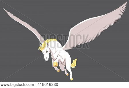 The Winged Horse Pegasus Flying Isolated Over Grey Background.
