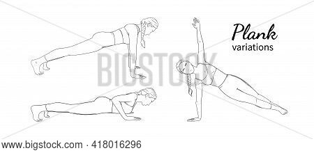 Woman In Plank Poses. Exercising Woman Practising Plank Pose Variations. Sketch Vector Illustration