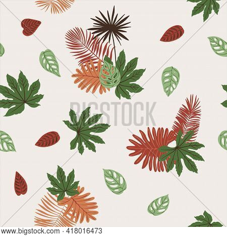 Pattern Tropics Leaves Vector Modern. Color Beige Green, Trend Ornament