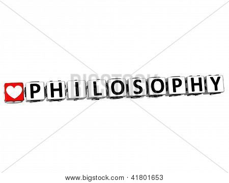 3D I Love Study Philosophy Button Block Text On White Background