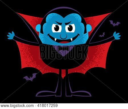 Cartoon Illustration With Cute And Funny Vampire.