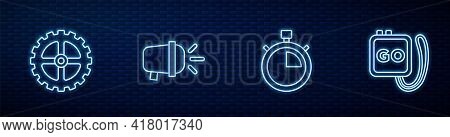 Set Line Stopwatch, Bicycle Sprocket Crank, Head Lamp And . Glowing Neon Icon On Brick Wall. Vector