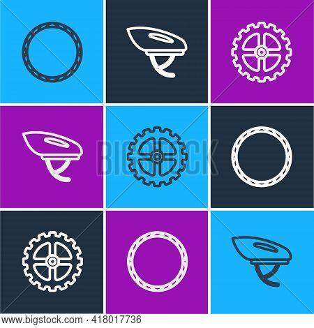 Set Line Bicycle Wheel, Sprocket Crank And Helmet Icon. Vector