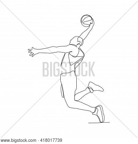A Male Basketball Player Slam Dunk- Continuous One Line Drawing