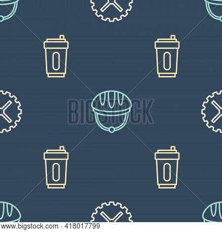 Set Line Bicycle Sprocket Crank, Sport Bottle With Water And Helmet On Seamless Pattern. Vector