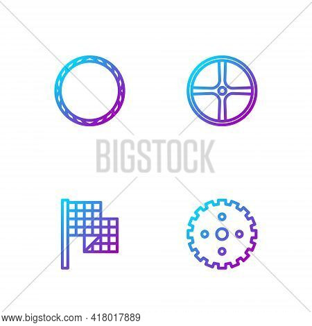 Set Line Bicycle Sprocket Crank, Checkered Flag, Wheel And . Gradient Color Icons. Vector
