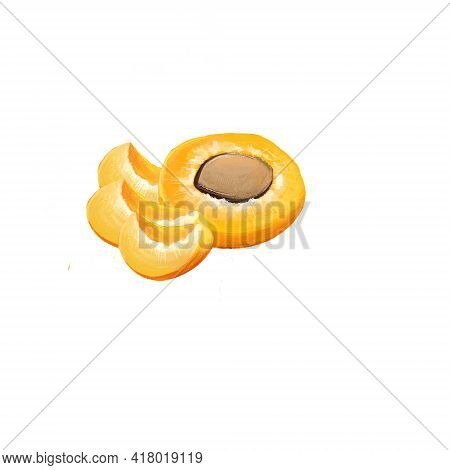Fresh Apricot Fruits Isolated On White Background. Half Of Apricot, Slice, Leaf. Fruits Of The World
