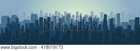 Simple City Silhouette. Big City. Megapolis Flat Style.