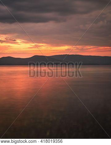 Photography Of The Sunset On The Sea. Orange Reflection