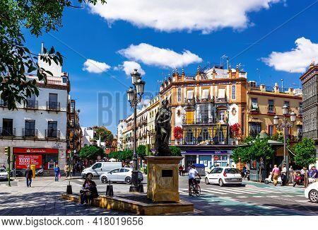 Seville, Andalusia, Spain - May 14, 2013: Plaza Del Altozano With Monument 1994 De Jesus Gavira Alba