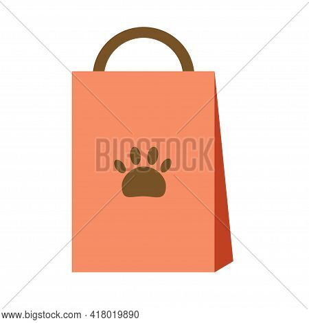 Bag With Granules For Dog Or Cat Litter Hygiene. Accessories For Pets. Shop Concept. Flat Isolated V