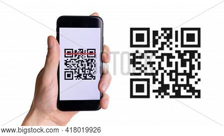 Scan Pay. Hand Holding Mobile Smartphone Screen For Payment Pay, Scan Barcode Technology With Qr Cod