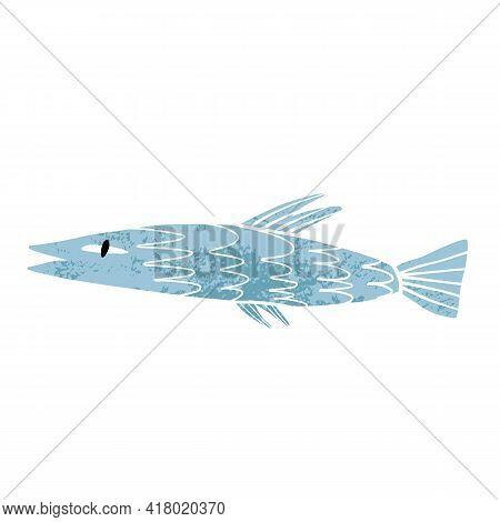 Cute Blue Sardine Fish With Texture. Sea Inhabitant Cartoon Illustration.