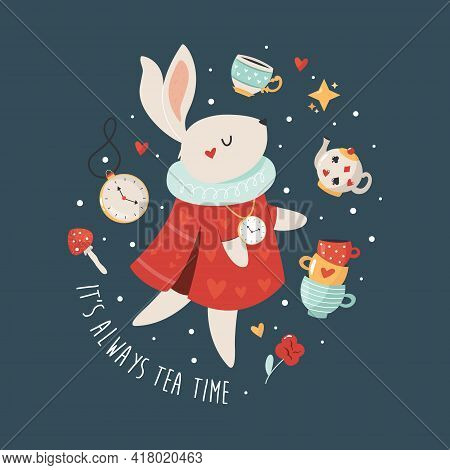 Colorful Composition With White Rabbit From Alice In Wonderland