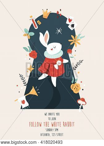 Party Invitation With White Rabbit And Other Symbols Of Famous Fairy Tale.