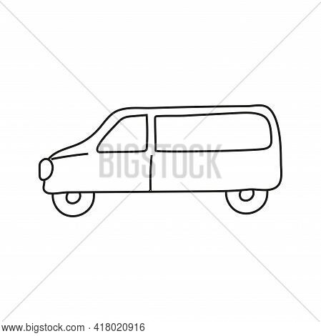 Hand Drawn Doodle Car For Coloring Children Book. Simple Line, 2 - 4 Age Group. Big Mashines, Lorry,
