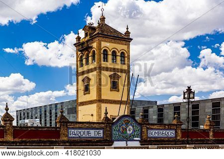 Seville, Andalusia, Spain - May 14, 2013:  Tower сentral Fire Brigade Of Seville.