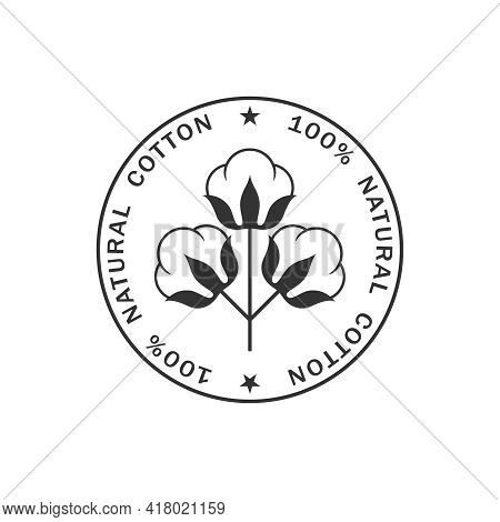 Cotton Graphic Icon. Stamp 100% Natural Cotton Sign Isolated On White Background. Logo Template. Vec