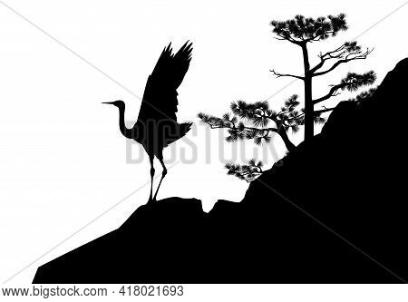Japanese Crane Bird Standing On Pine Tree Covered Rock Cliff - Black And White Asian Landscape Vecto
