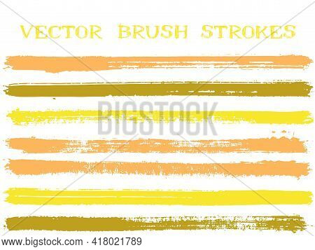 Futuristic Ink Brush Strokes Isolated Design Elements. Set Of Paint Lines. Distressed Ink Brushe Str