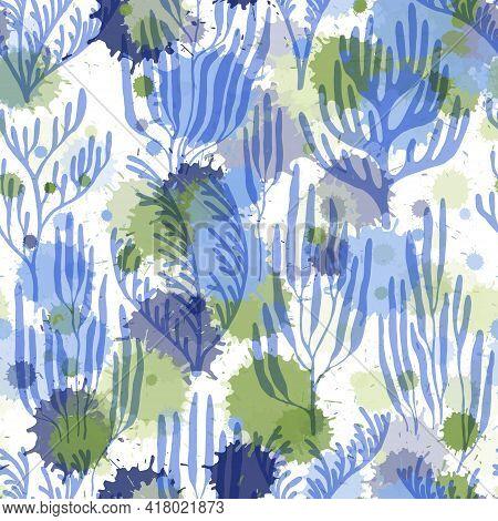 Ocean Corals Seamless Pattern. Paint Splashes Drops Watercolor Background. Underwater Plants Textile