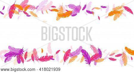 Pink Violet Orange Feather Floating Vector Background. Flying Bird Plumage Pattern. Flamingo Plumage