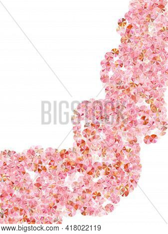 Rose Gold Tinsels Confetti Placer Vector Composition. International Women's Day March 8th Card Backg
