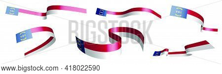 Set Of Holiday Ribbons. Flag Of American State Of North Carolina Waving In Wind. Separation Into Low