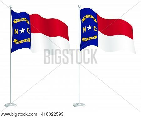 Flag Of American State Of North Carolina On Flagpole Waving In Wind. Holiday Design Element. Checkpo