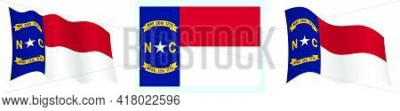Flag Of American State Of North Carolina In Static Position And In Motion, Fluttering In Wind In Exa