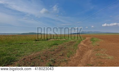 Landscape Of The African Savannah. The Dirt Road Runs Along The Red Earth. Lush Green Grass Grows On