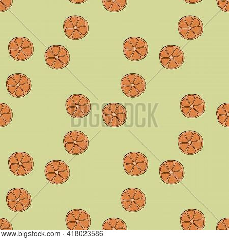 Seamless Pattern With Tangerine On Light Green Background. Vector Image.