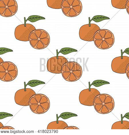 Seamless Pattern With Tangerine On White Background. Vector Image.