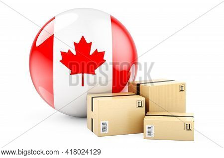 Parcels With Canadian Flag. Shipping And Delivery In Canada, Concept. 3d Rendering Isolated On White