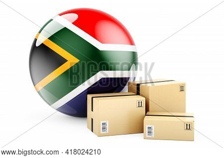 Parcels With Flag Of South Africa. Shipping And Delivery In South Africa, Concept. 3d Rendering Isol