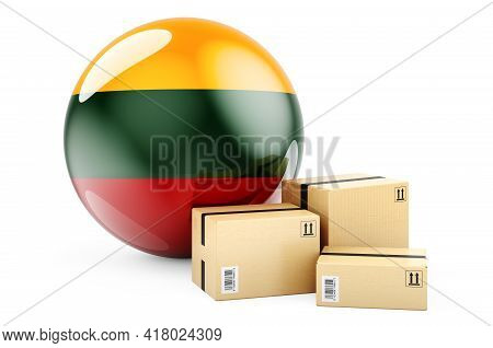Parcels With Lithuanian Flag. Shipping And Delivery In Lithuania, Concept. 3d Rendering Isolated On
