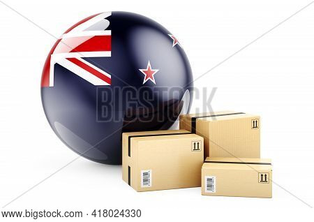 Parcels With New Zealand Flag. Shipping And Delivery In New Zealand, Concept. 3d Rendering Isolated