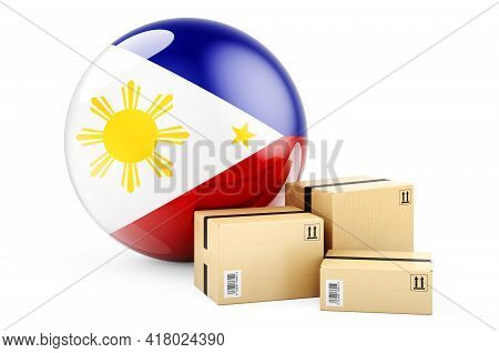 Parcels With Philippines Flag. Shipping And Delivery In Philippines, Concept. 3d Rendering Isolated