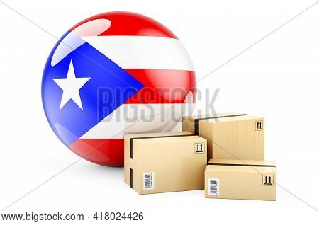 Parcels With Puerto Rican Flag. Shipping And Delivery In Puerto Rico, Concept. 3d Rendering Isolated