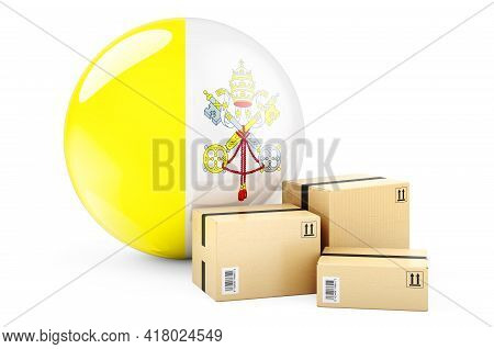 Parcels With Vatican Flag. Shipping And Delivery In Vatican, Concept. 3d Rendering Isolated On White