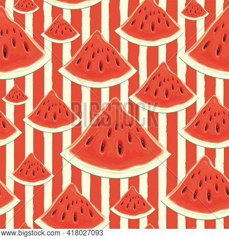 Summer Fruit Striped Background With Ripe Sweet Watermelons. Vector Seamless Pattern With Appetizing