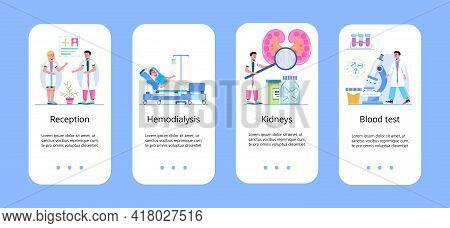 Pyelonephritis And Kidney Stones Diseases App. Urarthritis, Cystitis And Ureteroscopy Concept Vector